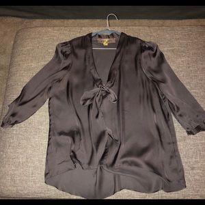 Beautiful Dark Gray Silk Blouse With Bow